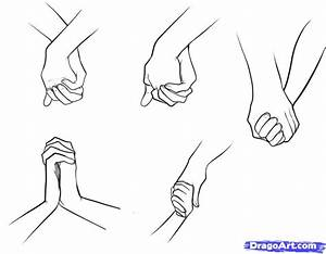 How to Draw Holding Hands, Step by Step, Hands, People ...