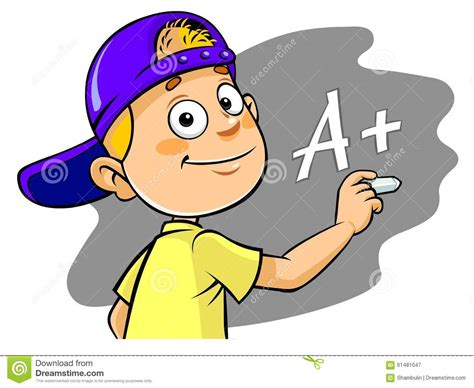 Cartoon Kid Writing A+ Grade Stock Illustration