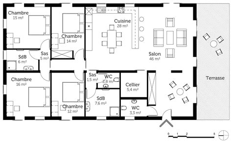 plan de maison plain pied 4 chambres avec garage plan maison de plain pied 160 m avec 4 chambres ooreka