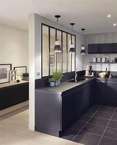 la verriere interieure en 62 idees pour toute la maison With meuble bar pour cuisine ouverte 7 cuisine noire et bois un espace moderne et intrigant