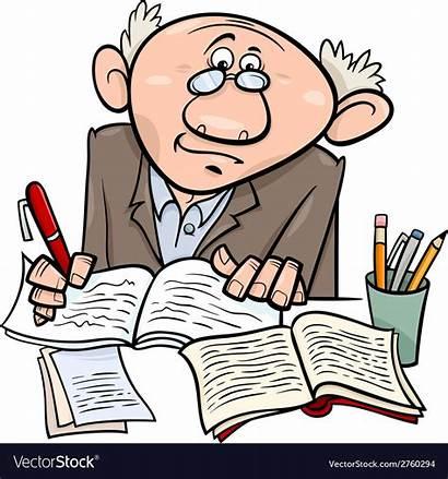 Vector Writer Cartoon Professor Clipart Taking Clip
