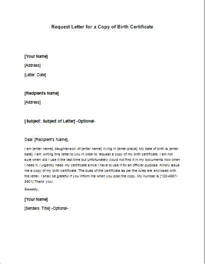 birth certificate alternative copy request letter