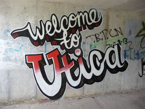 """Graffiti Welcome : """"welcome To Utica"""" Graffiti On The Wall Of A Tunnel That"""