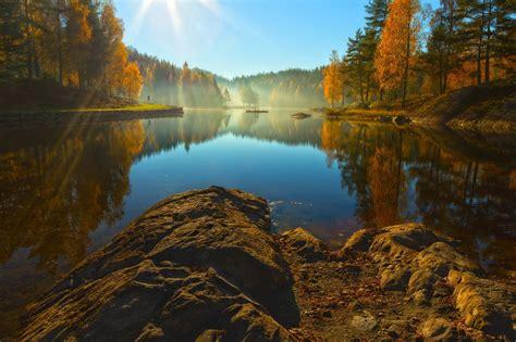 landscape, Rocks, Water, Trees, Sun, Nature, Lake ...