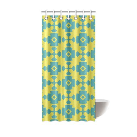 yellow teal geometric tile pattern shower curtain 36 quot x72