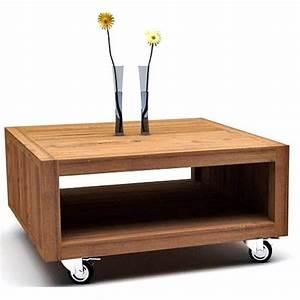 Table Sur Roulettes : table basse carr e roulettes teck recycl carpo achat vente table basse table basse carr e ~ Teatrodelosmanantiales.com Idées de Décoration