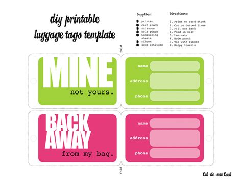 luggage tag templates  microsoft word