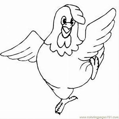 Chicken Dancing Coloring Pages Chickens Drawing Clipart