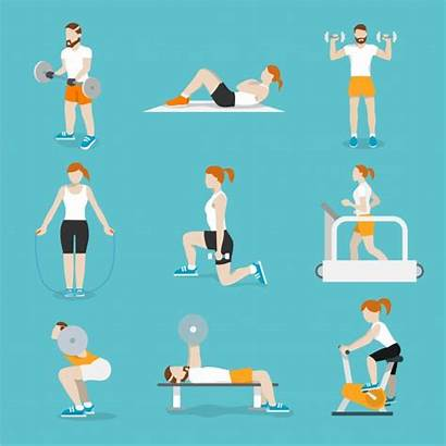 Icons Workout Exercise Fitness Training Vector Illustration