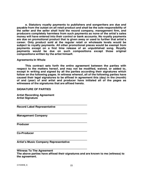 recording contract template artist recording contract sle free