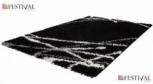tapis shaggy moderne avec motif coloris noir jiva pas cher With tapis shaggy avec canapé modulable design pas cher