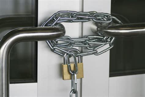 Locked Door With Chain Lock Stock Photo
