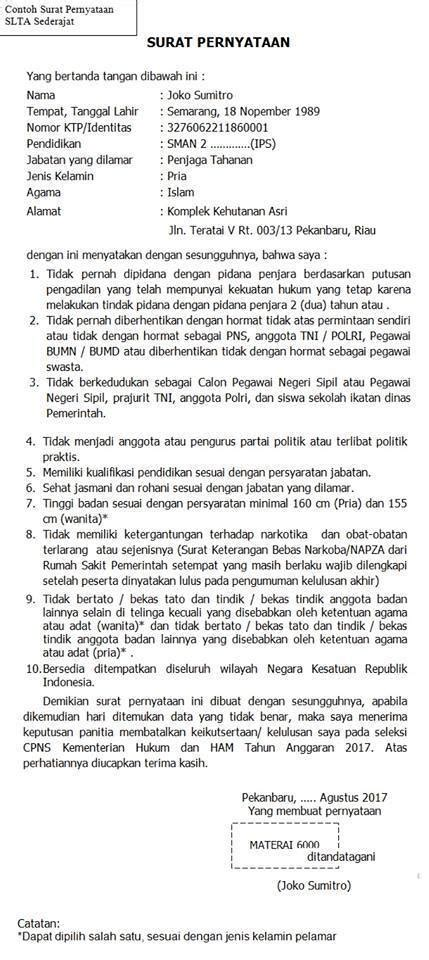 Surat Lamaran Cpns Kemendikbud by Contoh Surat Pernyataan Cpns 2018 Format Surat