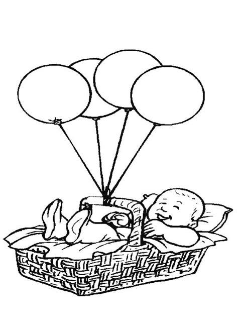 Kleurplaat Ballon Met Mandje En Baby baby in een mandje aan ballonnen om in te kleuren