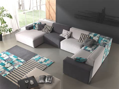 Lovely U Shaped White And Gray Upholstery Modern Cool