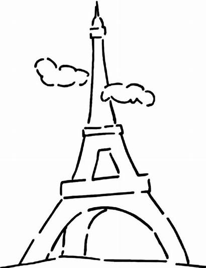 Eiffel Tower Coloring Sky Cloudy Pages Draw