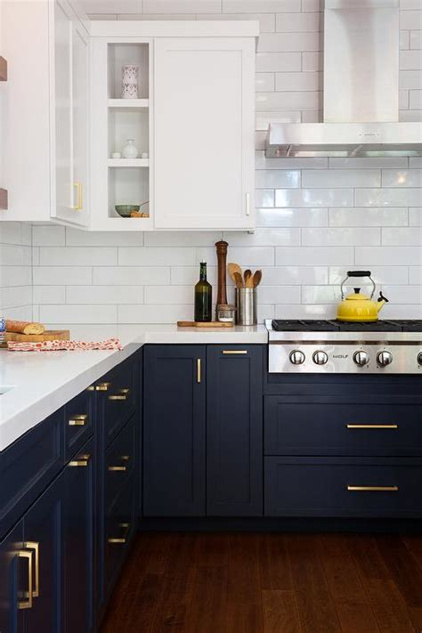 blue and white kitchen cabinets navy shaker kitchen cabinets with brushed brass pulls