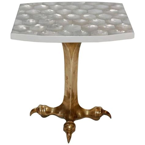 mother of pearl end table elegant mother of pearl sculptural side table for sale at