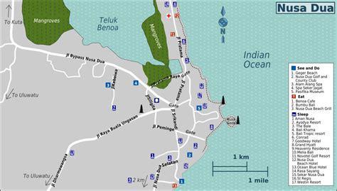 nusa dua tanjung benoa map bali tourist information