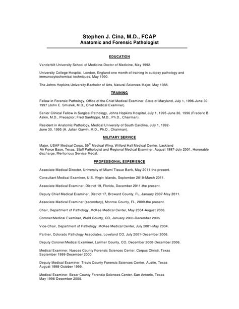 Digital Forensic Examiner Resume by Cv Of Dr Stephen J Cina Cook County Examiner