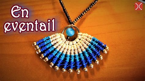 macrame necklace tutorial  simple en eventail pattern