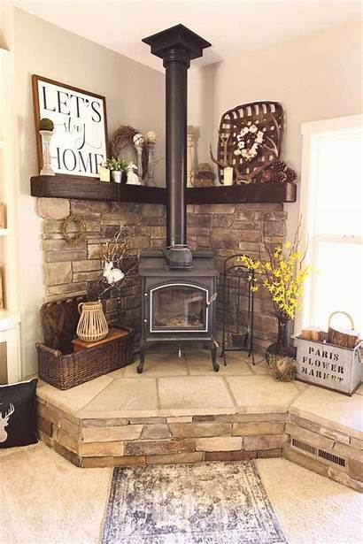 Wood Corner Stove Decor Fireplace Cabin Pellet