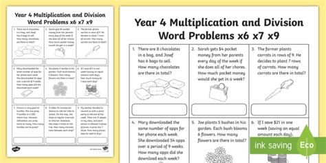 year 4 multiplication and division word problems worksheet