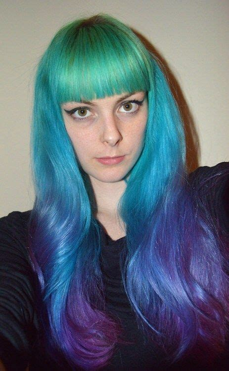 Green Blue Purple Ombre Hair Color Hair Pinterest