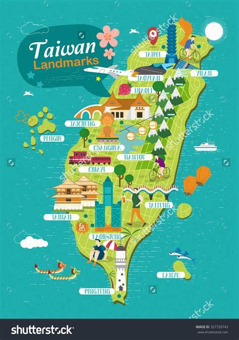 taiwan landmarks travel map  flat design stock photo