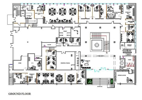 bureau dwg office design cad plan cadblocksfree cad blocks free