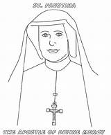 Coloring Mercy Faustina Divine Pages Nun Saints Catholic St Saint Sunday Feast Sister Print Colouring Jesus Sheet Cartoon Celebrating Little sketch template