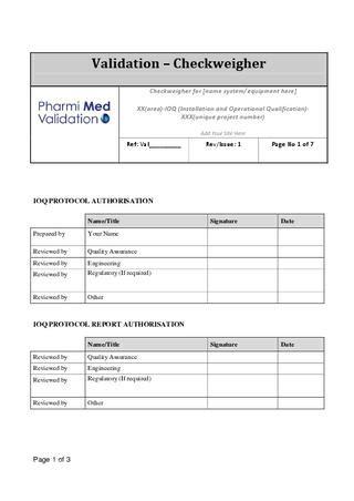garvens ioq checkweigher template sample  pharmi med