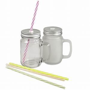 Mason Jar Paille : mason jar en verre avec anse couvercle et une paille ~ Teatrodelosmanantiales.com Idées de Décoration