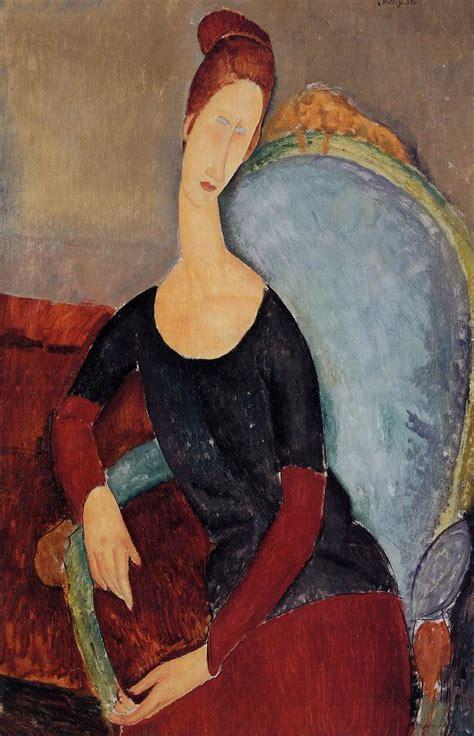 chaise jeanne portrait of jeanne hebuterne in a blue chair 1918