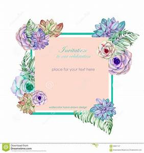 Floral Border With Succulents Vector Illustration ...
