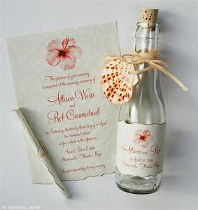 coral hibiscus beach wedding bottle invitations mospens With beach wedding invitations in a bottle uk