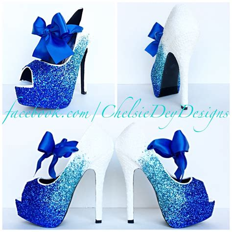 blue and white high heels heels zone