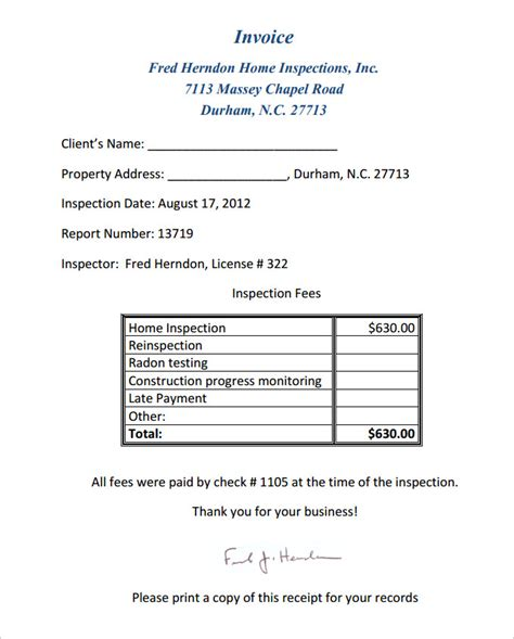 inspection report template home inspection report template