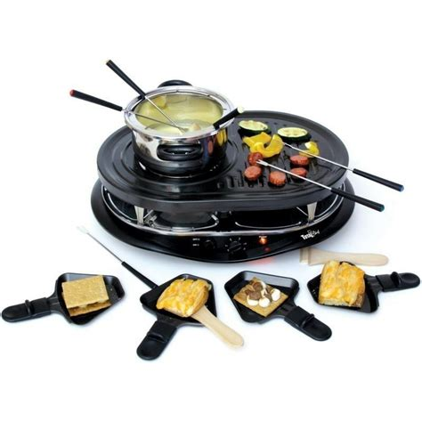 8 person raclette grill w fondue set electric countertop indoor griller ebay