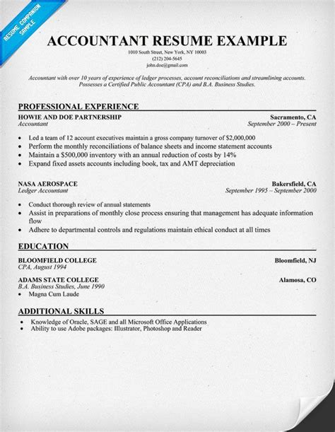 accountant resume sle resume sles across all