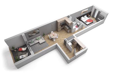 plan chambre 3d plan appartement 2 pièces domaine de la tour fleury 57420