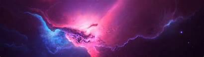 4k Space Pink Monitor Dual Wallpapers Nebula