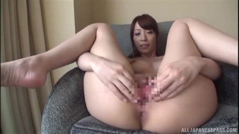 Beautiful Japanese Brunette Milf Spreads Her Hairy Pussy
