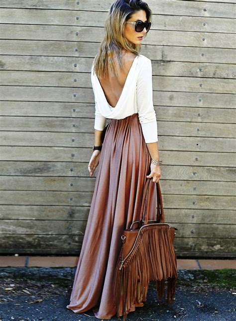 Womens Fashion Long Sleeve Backless Contrast Maxi Dress