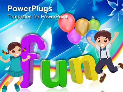 fun powerpoint powerpoint template 3d colored letters writing the word with happy and boy and five