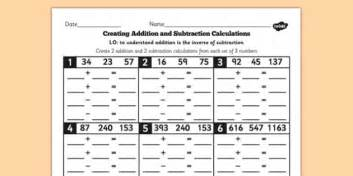 y3 inverse create add subtract calculations of 3 numbers sheet