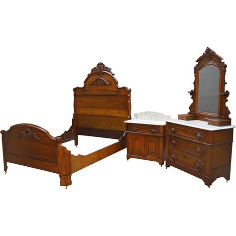 vintage bed set antique 3 three marble top bedroom set