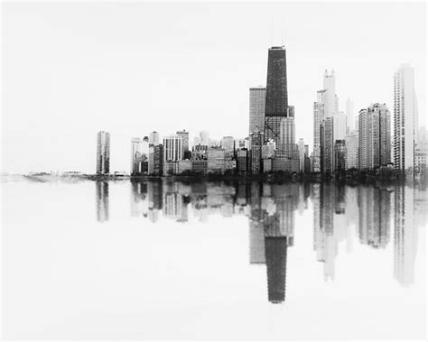 chicago skyline black white photograph abstract wall print soundwave landscape