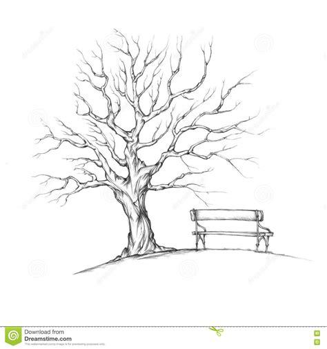 arbre sans feuilles avec le banc romantique illustration