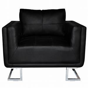 Fauteuil Cuir Noir : fauteuil en cuir cube noir ~ Melissatoandfro.com Idées de Décoration
